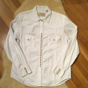 Scully white snap front western shirt